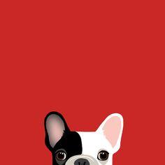 peep / illustration / style / dog / Frenchie / French bulldog