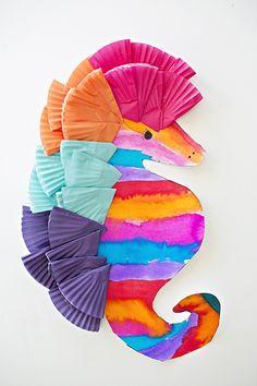 Colorful Watercolor Seahorse Art for Kids. Cute ocean craft.