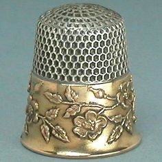 Antique Gold Thimbles | Vintage Sterling Silver with Wild Roses Gold Band Thimble (Antique ...