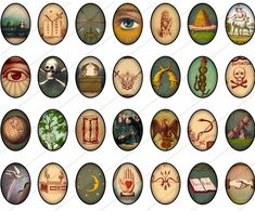 VINTAGE SYMBOLS mm Ovals digital printable collage sheet for pendants, magnets, bezel cabs. Masonic Art, Masonic Symbols, Ancient Symbols, Odd Fellows, Look Dark, Templer, Sun Moon Stars, Eastern Star, Freemasonry