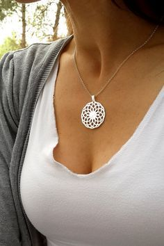 Silver mandala pendant, Mandala Necklace, Spiritual necklace, Gift for her - MS03 on Etsy, $49.00