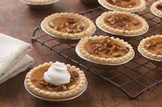 Everyone gets their own pumpkin pie with our take on a classic fall dessert. Layered with cream cheese and pumpkin fillings, these Mini Pumpkin Pies are cute and delicious. Fall Desserts, Cookie Desserts, Just Desserts, Dessert Recipes, Baking Recipes, Delicious Desserts, Mini Pumpkin Pies, Mini Pumpkins, Pumpkin Spice