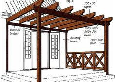 Learn how to build a outdoor pergola or wooden pergola for your garden with this professional pergola plans. If you build pergola in backyard patio you will see Outside Living, Outdoor Living, Outdoor Projects, Home Projects, Building A Pergola, How To Build Pergola, Building Plans, Build A Deck, Pergola Attached To House