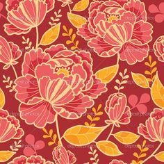 Бесшовный фон фон золото и красные цветы — стоковая иллюстрация #15498183