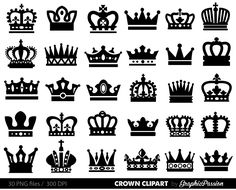 Crown Clipart King Queen Crown Clip Art Royal by GraphicPassion