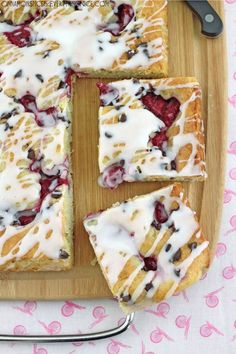 A delectable cream cheese coffee cake with raspberries and chocolate chips - sit back with a cup of coffee and enjoy this morning treat!
