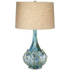 Kenya Modern Table Lamp Ceramic Blue Petals Vase Handmade Beige Linen Drum Shade for Living Room Family Bedroom - Possini Euro Design Contemporary Table Lamps, Modern Contemporary, Modern Table, Modern Lamps, Green Vase, Blue Green, Linen Lamp Shades, Ceramic Table Lamps, Modern Ceramics