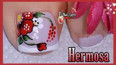 Floral Nail Art, Pedicure Nail Art, Beautiful Toes, Feet Nails, Mascara, Nail Designs, Lily, Make It Yourself, Blue Nails