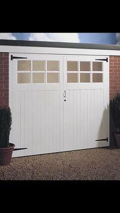 CHEAP JELDWEN SIDE HUNG TIMBER GARAGE DOOR PAIR GLAZED 2134MM X 1981MM (7 x6 6 )