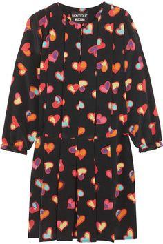 Boutique Moschino - Pleated Printed Silk Crepe De Chine Mini Dress - Black - IT46