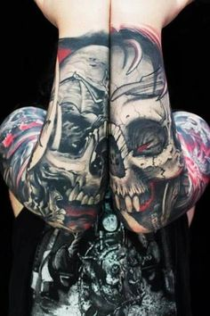 Amazing sleeves. Love the idea with the skulls. #tattoo #tattoos #ink #inked
