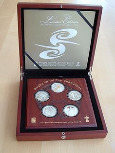 2011 Rugby World Cup Champions Silver Proof Coin Set 2015 Rugby World Cup, World Cup Champions, Proof Coins, Coin Collecting, Pin Badges, Silver Coins, Silver Quarters