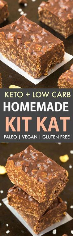 Healthy Homemade Keto Kit Kat Bars (Vegan, Paleo)- Easy homemade kit kat bars recipe made with 5 ingredients and ready in 5 minutes! The best keto dessert! Keto Foods, Ketogenic Desserts, Keto Snacks, Ketogenic Diet, Hcg Diet, Keto Meal, Oreo Desserts, Low Carb Desserts, Healthy Desserts