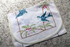 Bluebirds Dresser Scarf, Vintage Cotton, Embroidery