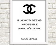 Coco Chanel quotes Chanel wall poster party by GrafikShop on Etsy