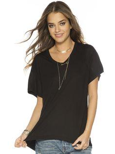 Solid Black Mia V. Fashion Top