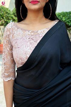 black satin georgette saree custom made designer chantilly lace blouse womens wedding party wear sari sarees Saree Jacket Designs, Netted Blouse Designs, Saree Blouse Neck Designs, Fancy Blouse Designs, Kalamkari Blouse Designs, Sari Design, Designer Kurtis, Party Kleidung, Designer Blouse Patterns