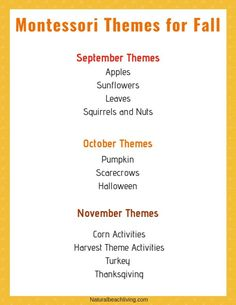Montessori Activities for Fall – Montessori Fall Themes Free Printable – Natural Beach Living - Eloise Davidson Lesson Plans For Toddlers, Preschool Lesson Plans, Preschool Curriculum, Montessori Activities, Preschool Kindergarten, Homeschooling, Montessori Elementary, Baby Activities, September Preschool Themes