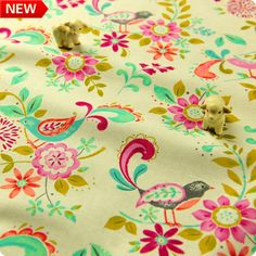 Flowers - multi-coloured floral cotton fabric