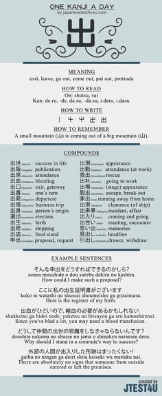 Learn one Kanji a day with infographic - 出 (shutsu): http://japanesetest4you.com/learn-one-kanji-a-day-with-infographic-%e5%87%ba-shutsu/