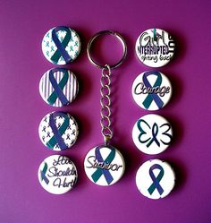 Domestic Violence Awareness Key Chain Teal and by InspiredByKarma, $10.00