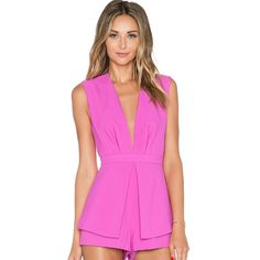 "Deep V playsuit with back cut-out in hot pink  With Such a cute dress and you will be the focus of the party!  Size S, poly blend, back cut-out with button closure, hidden back zip closure. My stats: 5'6"", 120 lbs, 34C-25-35. I have an average torso and the dress fits perfectly well. ✌ Finders Keepers Pants Jumpsuits & Rompers"