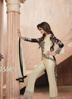 Brown & Cream designer long pant kameez suit in bhagalpuri silk