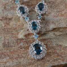 London Blue Topaz, White Topaz, and Electric Blue Topaz Necklace with Chain in Platinum Overlay Sterling Silver (Nickel Free)
