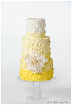 yellow wedding cake - ombre styling is hot for 2013 Beautiful Wedding Cakes, Gorgeous Cakes, Pretty Cakes, Amazing Cakes, Cake Wedding, Gown Wedding, Cupcakes, Cupcake Cakes, Pale Dogwood