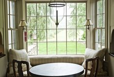 Charming banquette with bell jar lantern & pair of sconces - pretty check fabric on seat cushion - Michael Trapp
