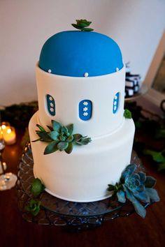Santorini wedding cake by Maggie's Wedding Cakes