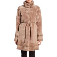 The Fur Salon Belted Mink Fur Coat ($2,996) ❤ liked on Polyvore featuring outerwear, coats, apparel & accessories, silver blue, quilted coat, beige coat, blue coat, tie belt and mink fur coat