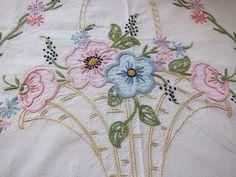antique  embroidered  vintage bedspread by fabriquefantastique, $40.00