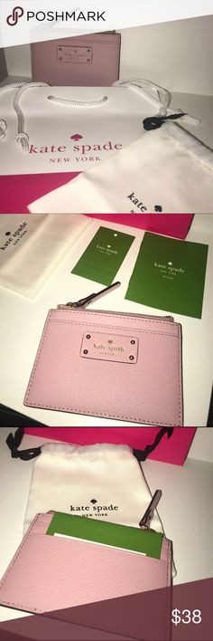 kate spade New York Adi Grove Street Card Wallet Features: Brand New w/ Tag (Price is FIRM)   ***(INCLUDES : Kate Spade mini Drawstring Dust Bag, Gift Box & Gift Bag is included)***   !!!Makes the Perfect Gift!!!   PET/SMOKE FREE   100% AUTHENTIC // NO RETURNS   •Zip Closure Gold Plated hardware;  •Gold foil Embossed Kate Spade New York Signature Logo in the front  •2 card slots in back;  •1 card slot in front;  •1 zip pocket on top  •Open interior features custom fabric  •Approx…