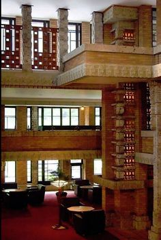 """Frank Lloyd Wright, """"Imperial Hotel"""", depicting the hotel lobby designed in Maya Revival Style of poured concrete and carved stone, Tokyo, Japan. New Architecture, Organic Architecture, Architecture Details, Frank Lloyd Wright Buildings, Frank Lloyd Wright Homes, Bauhaus, Glasgow, Japon Tokyo, Hotel Lobby Design"""