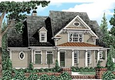 Danbury Park House Plan - Classic siding, varied roof shapes, and a pediment front porch create a handsome home with substantial curb appeal. Garage House Plans, Cottage House Plans, Best House Plans, House Floor Plans, Car Garage, Farm House, Country Style House Plans, Craftsman Style House Plans, Affordable House Plans