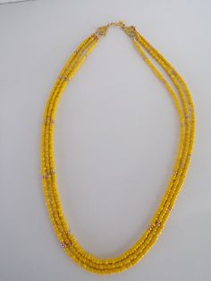 Yellow and Gold Seed Bead, 3 Strands, Layered Necklace, Beaded Necklace