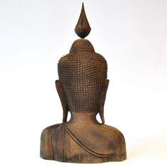 Buddha Gesicht Thai Buddha Holz natur 23x12x40