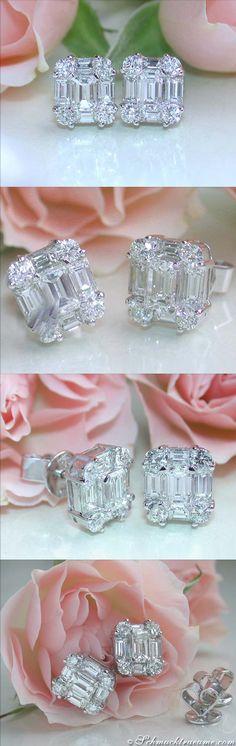 Precious Diamond Studs with Baguette Diamonds, 1.74 ct. G-VVS/VS, Whitegold-18K - Visit: schmucktraeume.com Like: https://www.facebook.com/pages/Noble-Juwelen/150871984924926