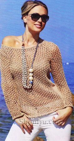 www.SHPULYA.com - Ажурный бежевый пуловер, вязаный спицами