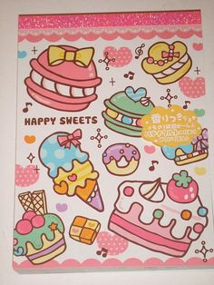 cute kawaii cakes memo pad - Happy Sweets