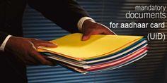 List of Documents Required For Aadhaar Card  #aadgaarcarddocuments #uiddocuments