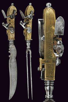 A knife and a fork with flintlock pistol,Germany 18th century.