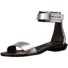United Nude Women's Lin Lo Sandal ($68) ❤ liked on Polyvore featuring shoes, sandals, metallic shoes, metallic sandals, ankle tie sandals, ankle strap shoes and studded sandals