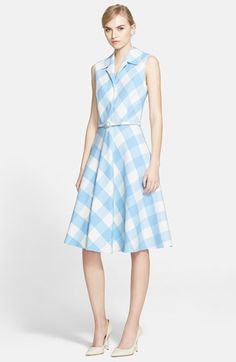 Oscar de la Renta Buffalo Check Double Face Wool Dress with Belt available at #Nordstrom