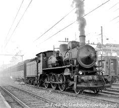 Locomotiva a vapore  FS 625.505 (distribuzione con valvole Franco-Crosti)  - Stazione di Lecco (I) -  09 feb 1964  -  © Umberto Garbagnati -