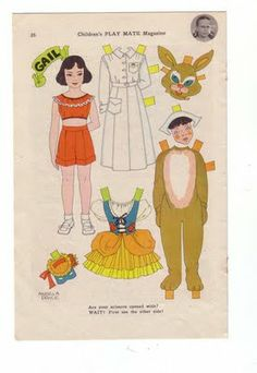 VINTAGE HALLOWEEN PAPER DOLLS  a might bit on the dark side...