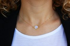 Floating Moonstone Necklace Dainty Gold by BrightMomentsJewelry