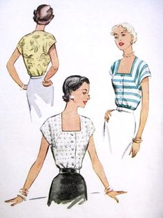 1950s Lovely Blouse Pattern McCall 8440 Deep Square Neckline Fitted Front Button Blouse Bust 30 Vintage Sewing Pattern