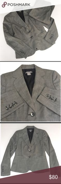 """Ann Taylor Pant Suit Set EXCELLENT CONDITION! / Ann Taylor Audrey Pant Suit Set // Sz 0 // shell: 100% virgin wool. Lining: 55% acetate, 45% rayon // black/white dots. Looks Gray// no stains/pilling / non-smoking home // Blazer: 14.5"""" shoulders laid flat // 17.5"""" across armpits // 27"""" sleeves // 22.5"""" length // Pants: 14"""" waist laid flat //9.5"""" rise // 30.5"""" inseam // not my size. Can't model. // Same/Next Day Shipping!! // 4.4.75.01 1p9.9o // offers welcome {Career, business, office attire…"""